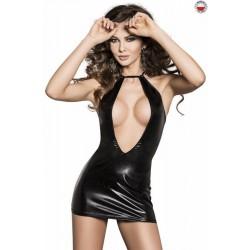 Платье под латекс с глубоким декольте Passion FEMI DRESS Черное XXL/XXXL